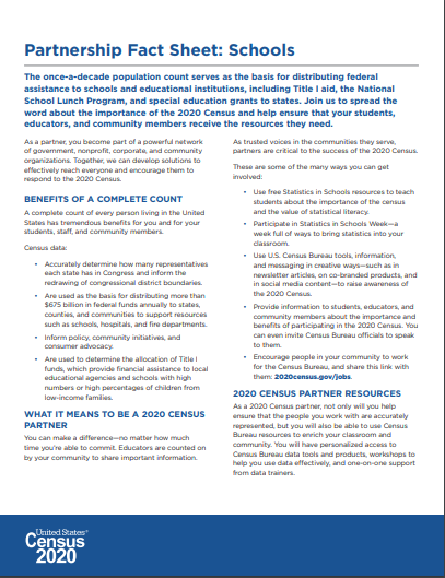 Census 2020 Partnership Fact Sheet: Schools Page 1